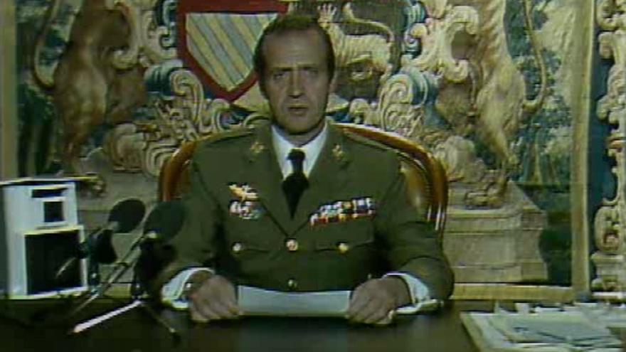 El rey en el discurso de la noche del golpe del 23F retransmitido por TVE.