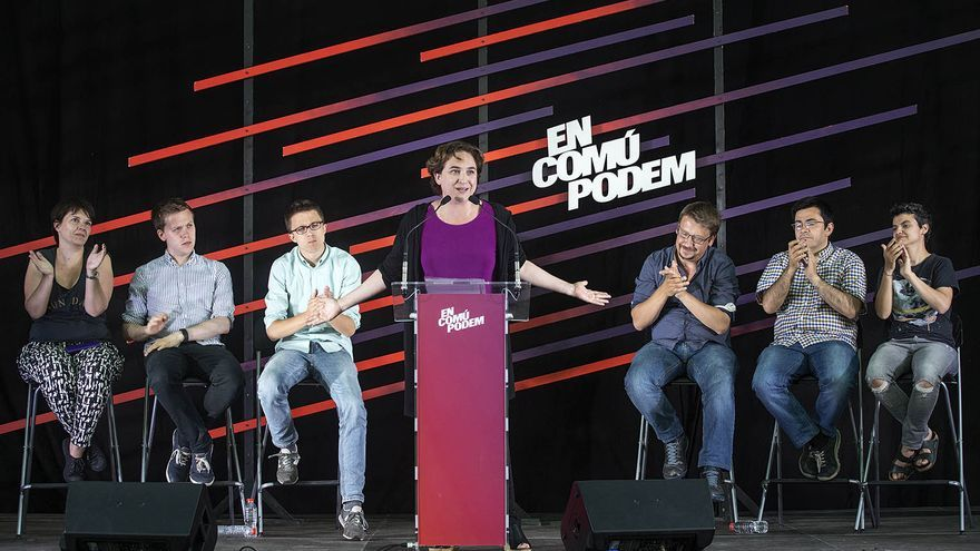 Owen Jones, Íñigo Errejón, Ada Colau y Gerardo Pisarello en el mitin de fin de campaña de En Comú Podem