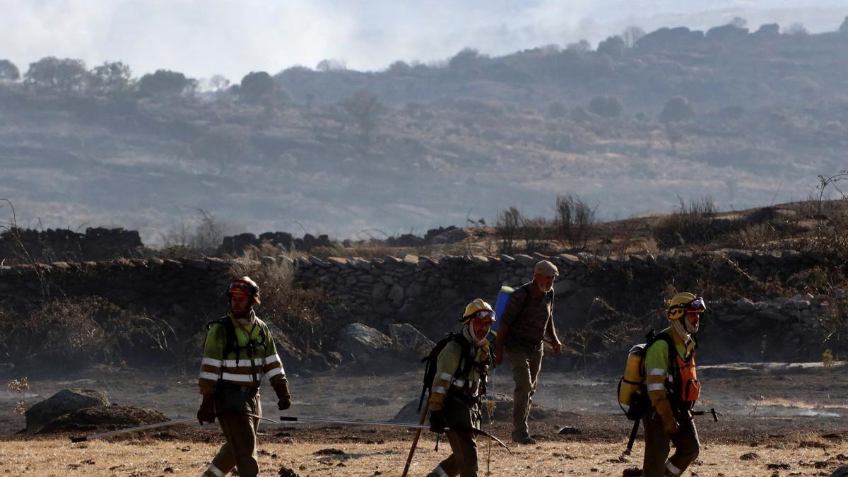 Bomberos en labores de extinción del incendio forestal en el municipio de San Felices de los Gallegos (Salamanca) .EFE/J.M.GARCÍA