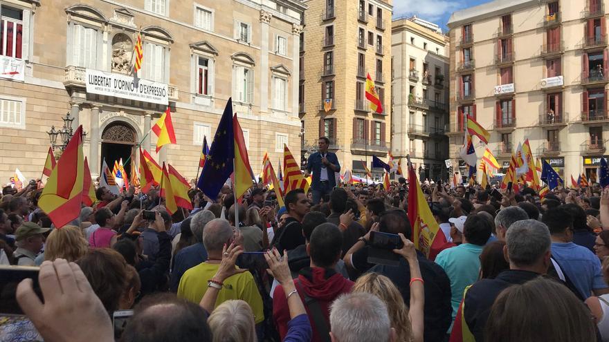 Albert Rivera, en el mitin de plaza Sant Jaume de este domingo.
