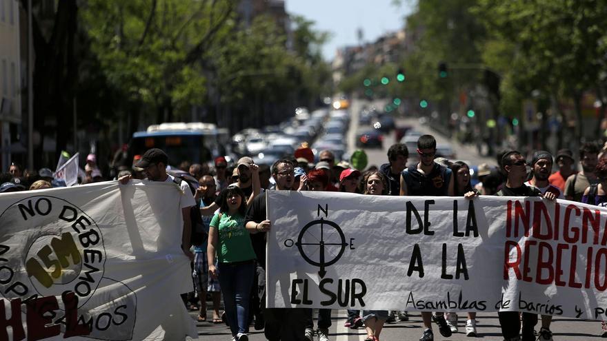 La columna sur en un momento del camino desde Leganés hasta la Puerta del Sol / Foto: Olmo Calvo