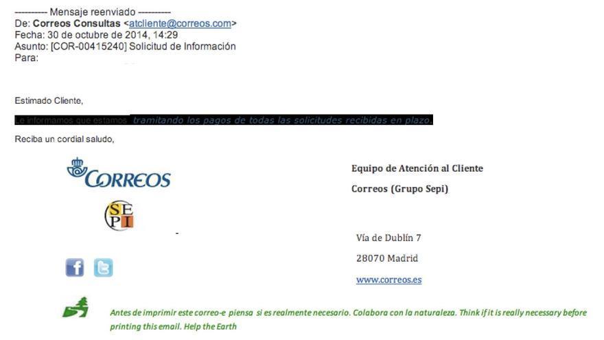 Captura de pantalla de un email enviado a Correos solicitando información sobre el reembolso del trámite