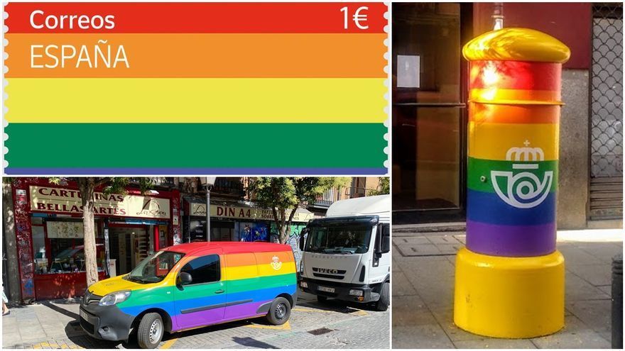 Sello LGTBI, buzón LGTBI situado en calle Gravina (imagen: SOMOS MALASAÑA) y vehículo de correos con los colores arcoiris estacionado en la plaza de San Ildefonso (imager: twitter @voyeurapg)