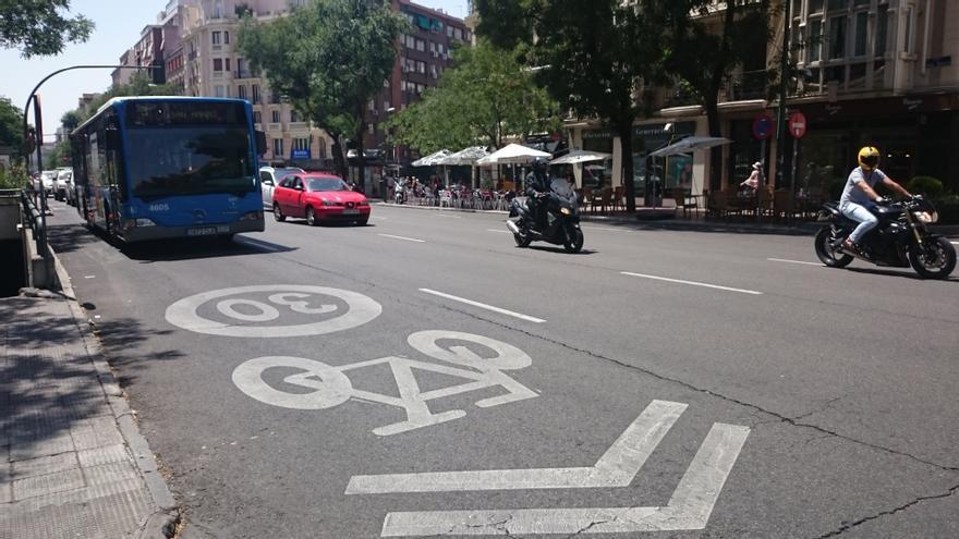 Un 'carril bici' en Madrid.