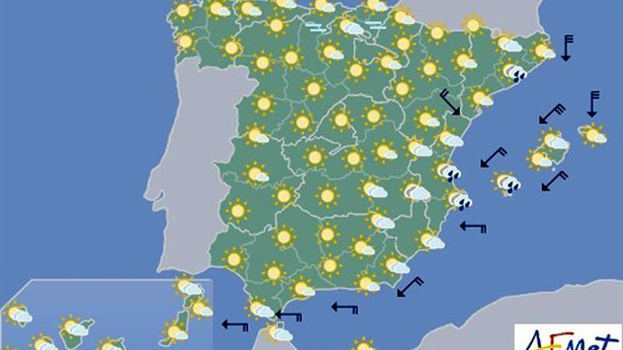Hoy, más calor en la vertiente atlántica y viento fuerte en Baleares