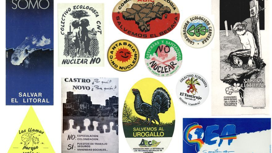 La pegatina tuvo un papel esencial en la estrategia de comunicación de las organizaciones sociales, en espacial de los grupos ecologistas. Estas pertenecen a las décadas de los 70 y 80 en Cantabria.