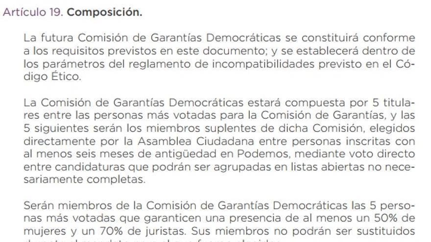 Artículo del documento organizativo ganador en Vistalegre 2 que define la composición de la Comisión de Garantías de Podemos.