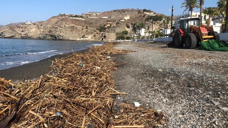 Comienzan a recoger en playas toneladas de basura provenientes de riadas del Levante