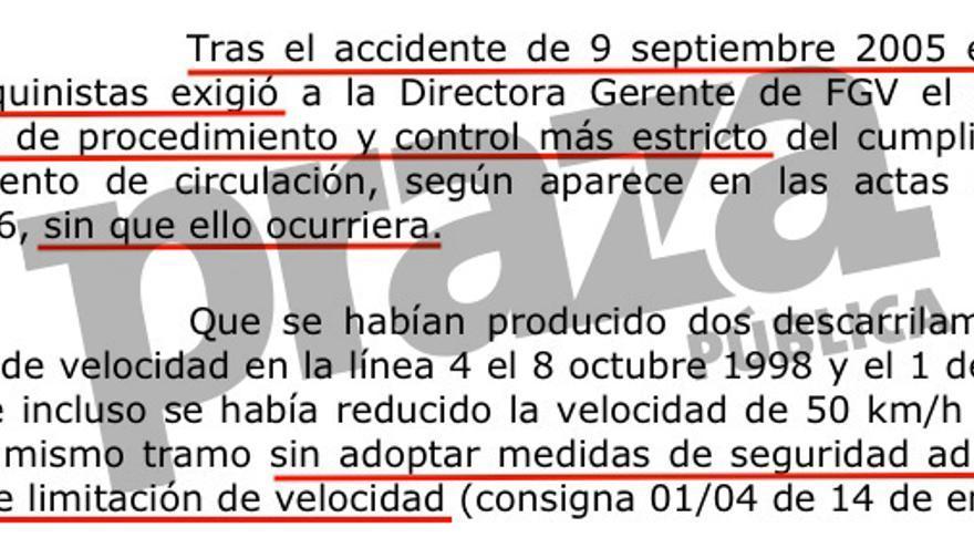 También en Valencia los maquinistas advirtieron del riesgo, según el auto de la Audiencia