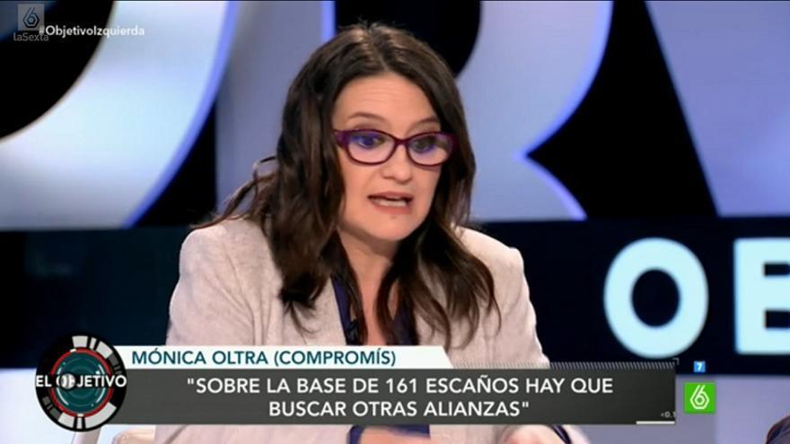 Mónica Oltra, durante su intevención en el programa 'El Objetivo'