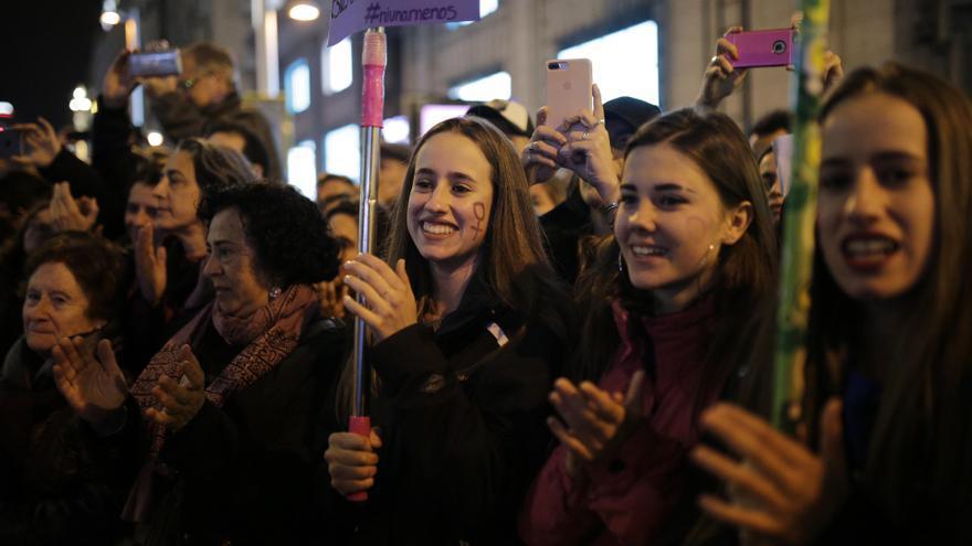 Manifestantes en la huelga feminista del 8M en Madrid