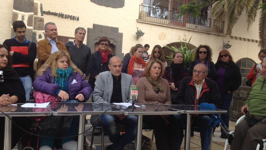 Rueda de prensa de la Plataforma de Personas con Movilidad y Comunicación Reducida de Canarias celebrada en Las Palmas de Gran Canaria. FOTO: Iago Otero Paz.