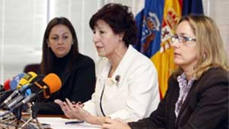 La consejera de Bienestar Social, Juventud y Vivienda del Gobierno de Canarias, Inés Rojas, durante la rueda de prensa. (ACFI PRESS)