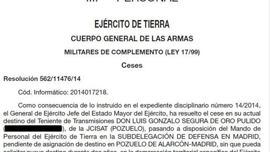 Cese del teniente Luis Gonzalo Segura