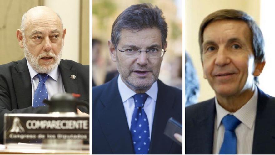 De izquierda a derecha, el fiscal general del Estado, José Manuel Maza, el ministro de Justicia, Rafael Catalá, y el fiscal jefe de Anticorrupción, Manuel Moix.