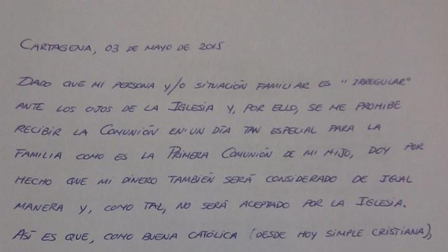 Carta de respuesta de Ángeles Conesa al párroco.