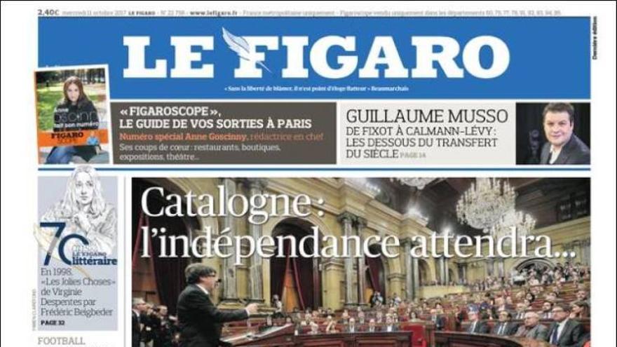 """""""Catalunya: la independencia tendrá que esperar..."""": la portada del diario francés Le Figaro"""