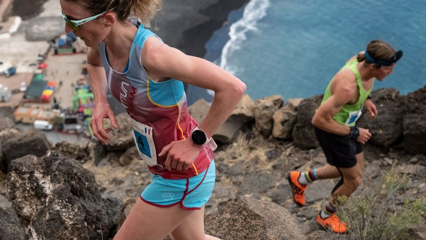 Jessica Pardin, este jueves, durante carrera del Kilómetro Vertical Binter.