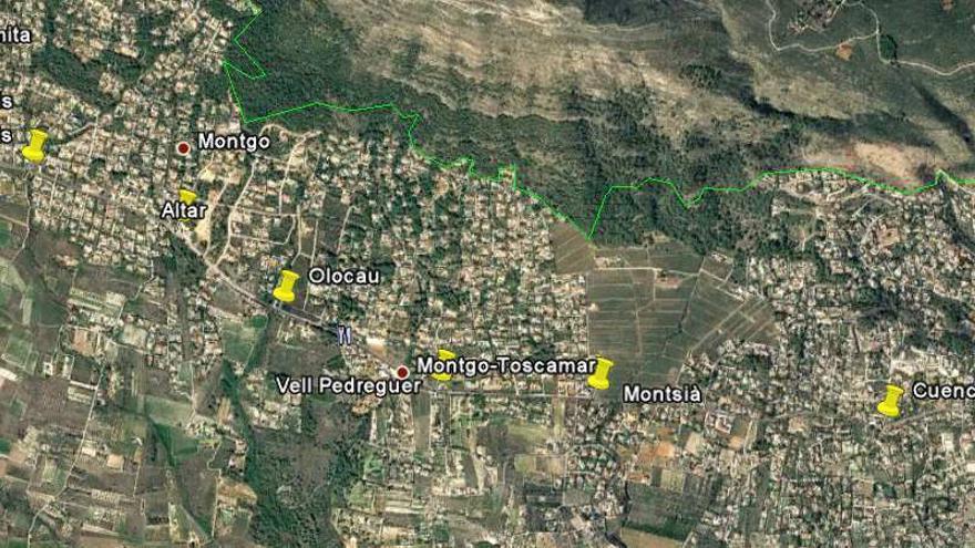 Imagen del estudio informativo, en la que se marca en amarillo la ubicación de cada una de las rotondas proyectadas.