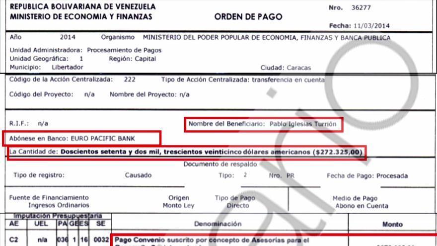 Supuesta de orden de pago de Venezuela a Pablo Iglesias