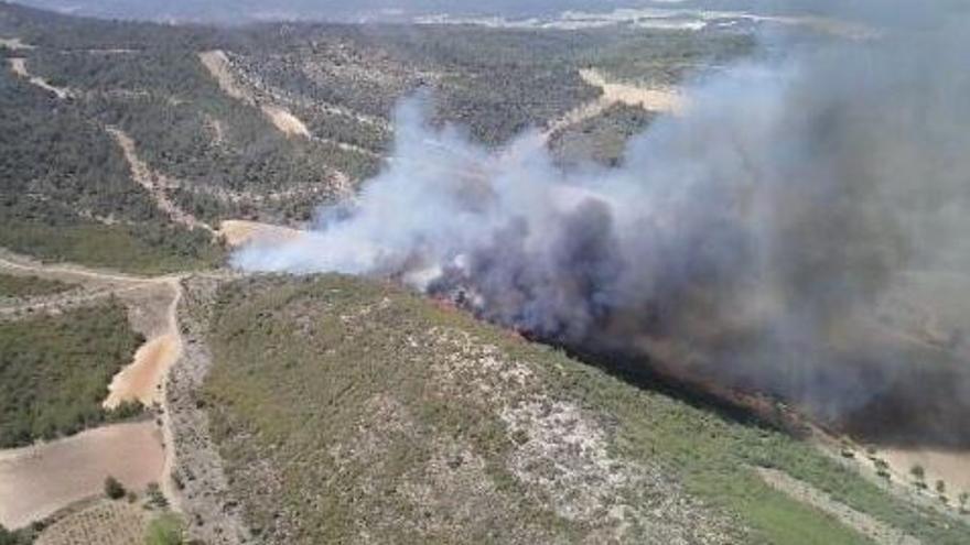 Incendio forestal declarado en Bocairent. Foto: 112