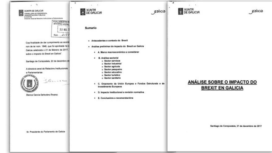 Páginas del informe sobre el Brexit remitido por la Xunta al Parlamento de Galicia