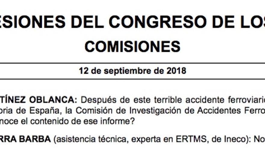 Fragmento del Diario de Sesiones del Congreso en el que una técnica de la alta velocidad compareciente en la comisión sobre Angrois dice que no leyó el informe oficial