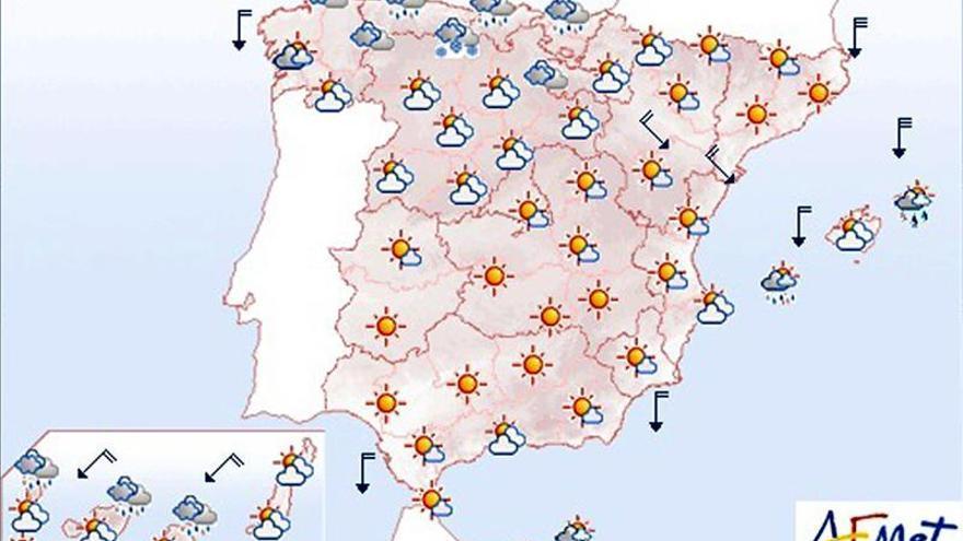 Hoy, heladas moderadas en Pirineos y viento fuerte en el norte y las islas