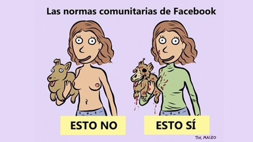 """Imagen de The Maizo que ilustra la petición en Change.org """"Facebook: no permitas promocionar el maltrato animal"""""""