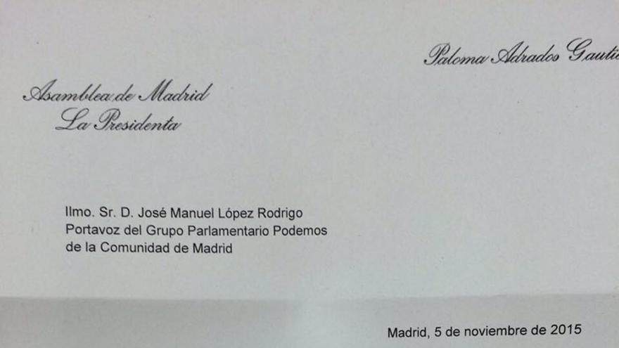 Carta de la presidenta de la Asamblea de Madrid.