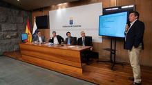 Mesa formada para la rueda de prensa de este martes, con Óscar Izquierdo a la derecha