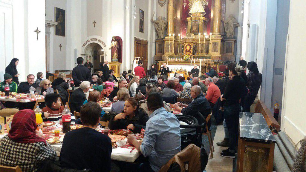 La iglesia de las Maravillas, convertida en un comedor por navidad   COMUNIDAD DE SANT EGIDIO