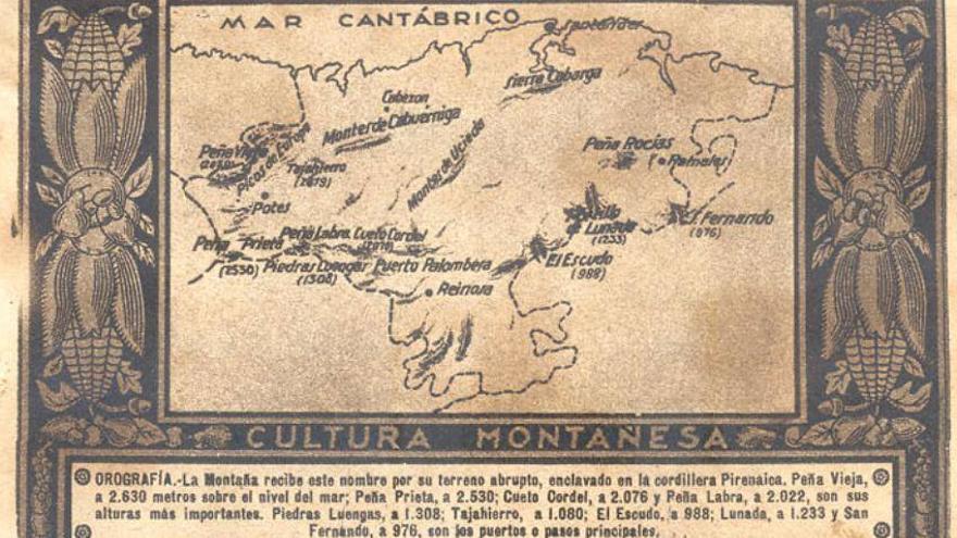Uno de los mapas sobre cultura montañesa que publicaba 'La Voz de Cantabria' en 1933.
