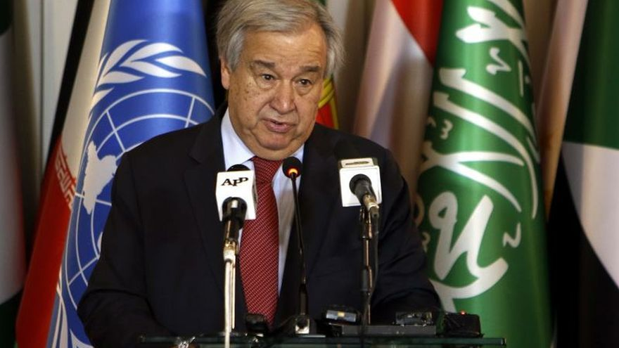 UN Secretary-General, Antonio Guterres speaks during a joint press conference with Pakistani Foreign Minister in Islamabad, Pakistan, 16 February 2020. Guterres is on an official visit of Pakistan.