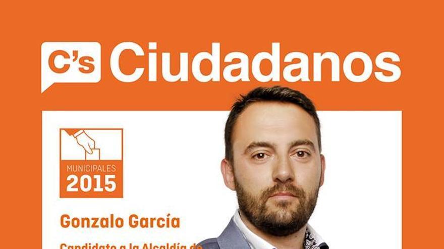 Cartel de candidatura de Gonzalo García por C's en Carranque (Toledo)