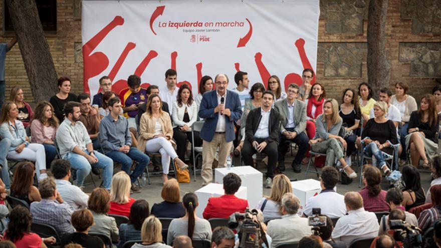 Javier Lambán, en el acto de presentación de su candidatura