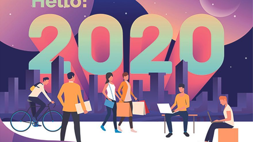 City, leisure and working outdoors. Urban people doing shopping, using laptop, riding bicycle. Hello 2020 concept. Vector illustration can be used for presentation slide or landing page design