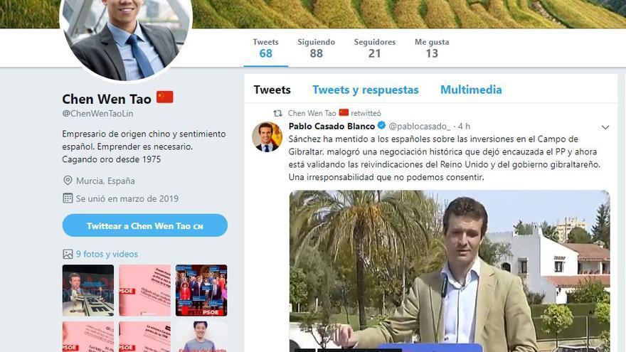 Cuenta falsa de Twitter en apoyo a Pablo Casado.