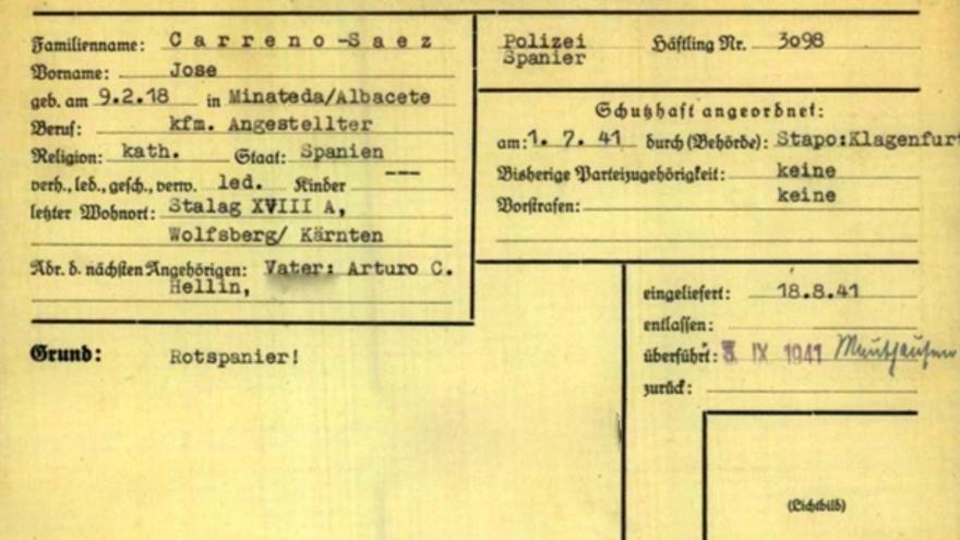 """Ficha de José Carreño en Buchenwald con la anotación """"Rotspanier"""", rojo español, en la mitad inferior izquierda."""