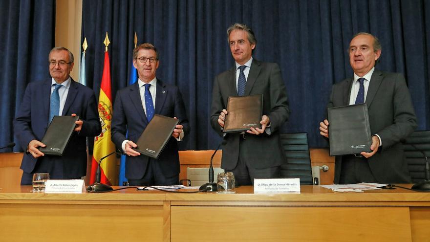 El presidente de la Xunta y el ministro de Fomento, junto con los presidentes de Puertos del Estado y de la Autoridad Portuaria