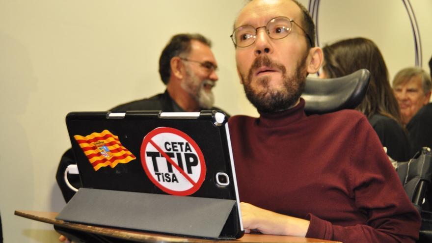 """Echenique (Podemos) dice que """"va a ser difícil"""" confiar en el proyecto de Presupuestos de Lambán"""