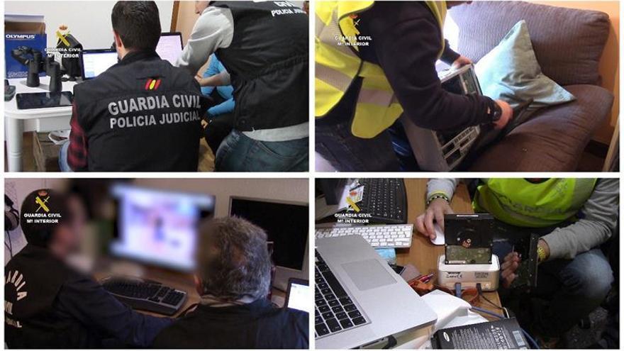 Combo de imágenes correspondientes a la 'Operación Pilumnus' facilitado por la Guardia Civil