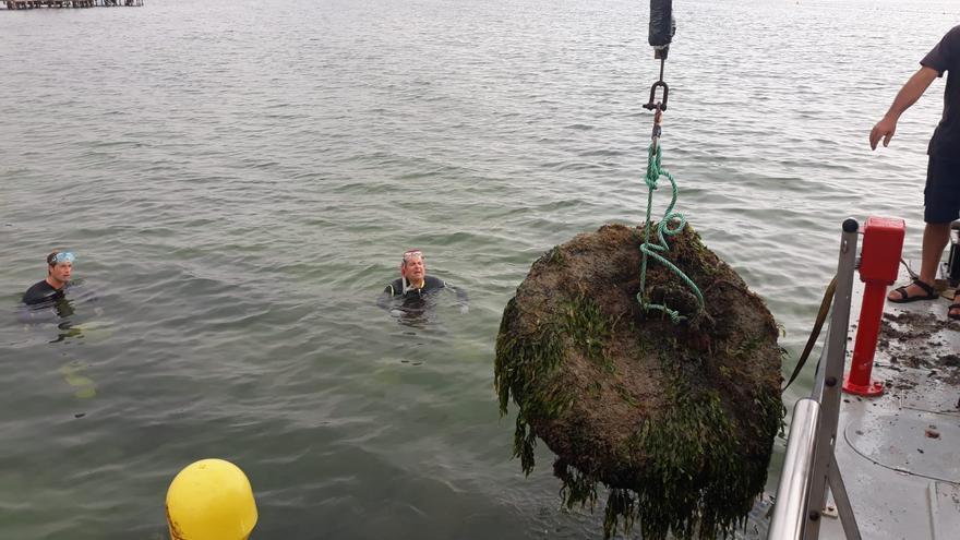 Retirada de 'muertos' para el amarre ilegal de embarcaciones en el Mar Menor