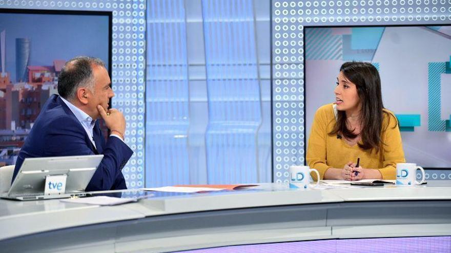 Irene Montero, durante su entrevista en TVE.