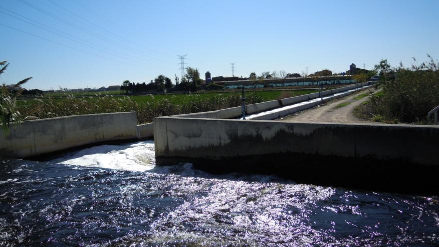 Imagen de la acequia del Oro con agua depurada de Pinedo