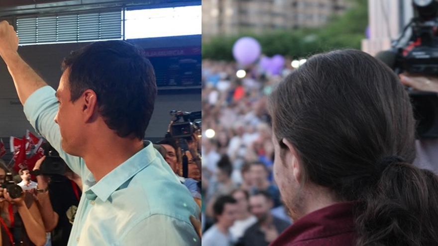 Pedro Sánchez y Pablo Iglesias en Murcia / MJA-PSS