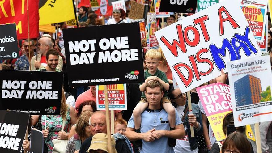 Manifestación en Londres contra la austeridad del Gobierno de May, 2017