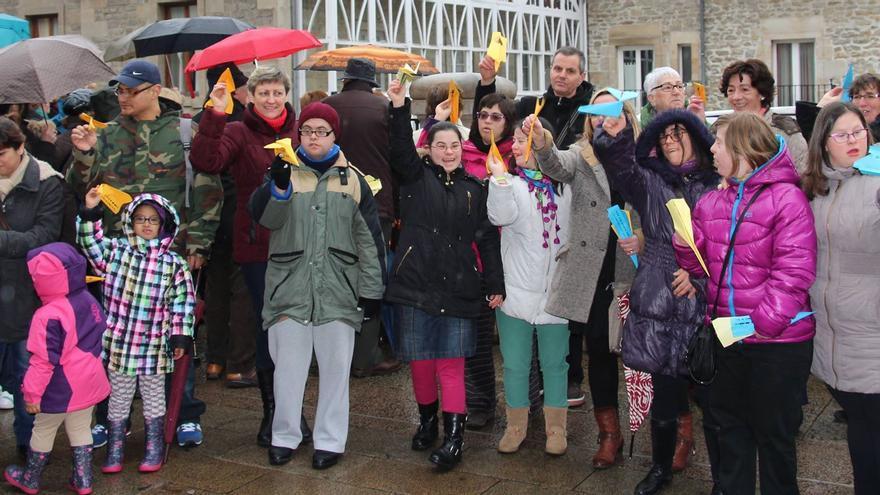 Integrantes de Down Araba-Isabel Orbe en su último evento celebrado en Vitoria-Gasteiz.