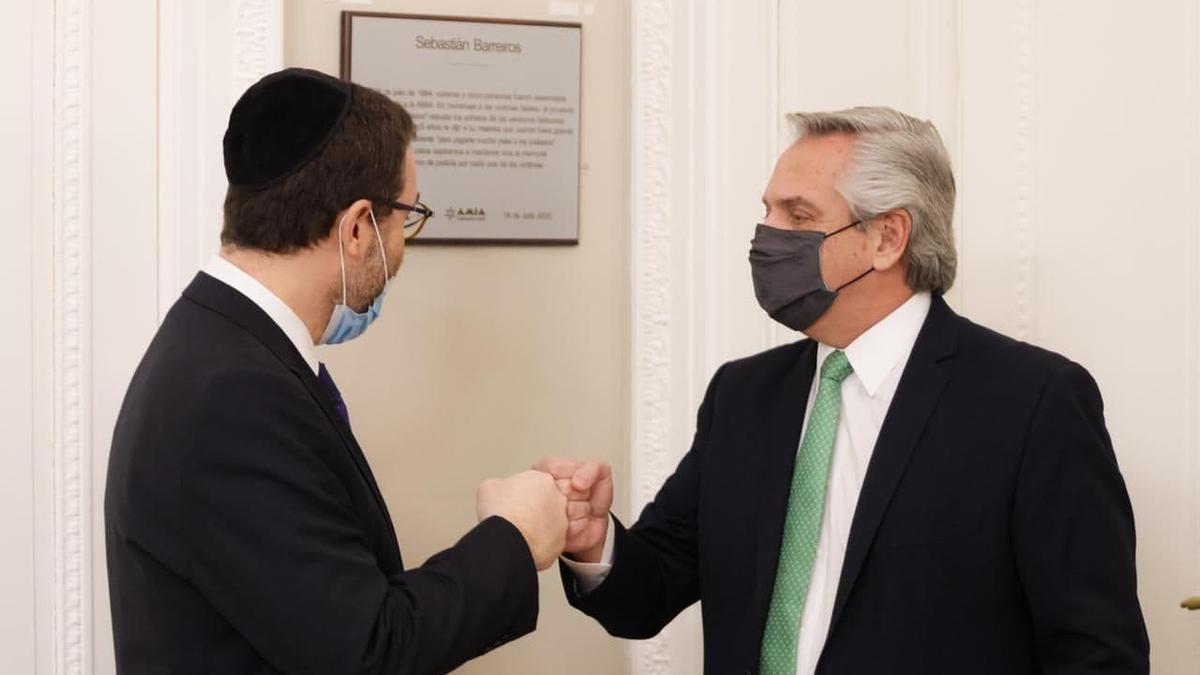 El presidente Alberto Fernández recibió hoy en Casa Rosada a las máximas autoridades de la Asociación Mutual Israelita Argentina (AMIA).