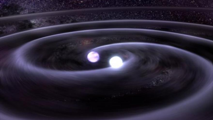 Representación artística de un sistema binario de dos enanas blancas. Crédito: GSFC, NASA, Dana Berry (CXC).
